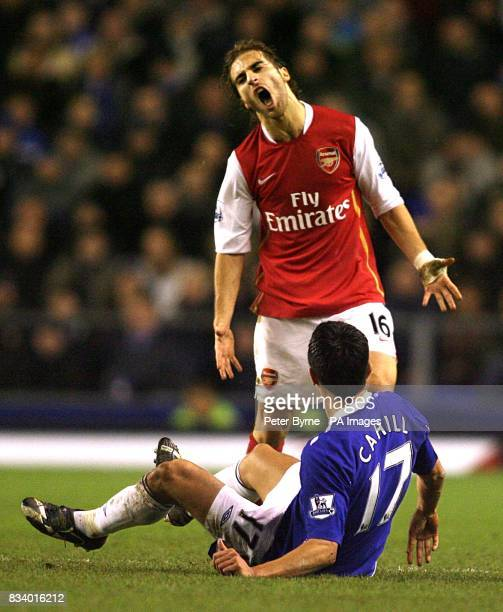 Arsenal's Mathieu Flamini shows his frustration after fouling Everton's Tim Cahill