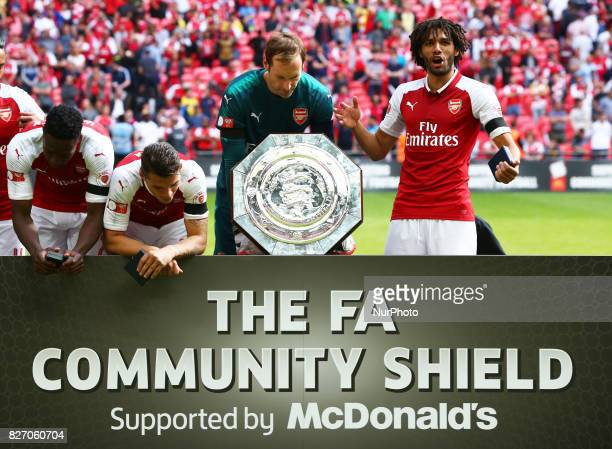 Arsenal's Mohamed Elneny on right during the The FA Community Shield match between Arsenal and Chelsea at Wembley stadium London England on 6 August...