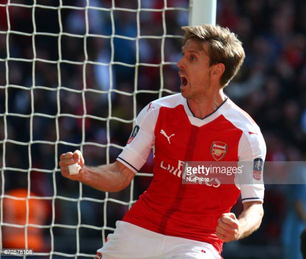Arsenal's Nacho Monreal celebrates scoring his sides first goal during The Emirates FA Cup SemiFinal match between Arsenal and Manchester City at...