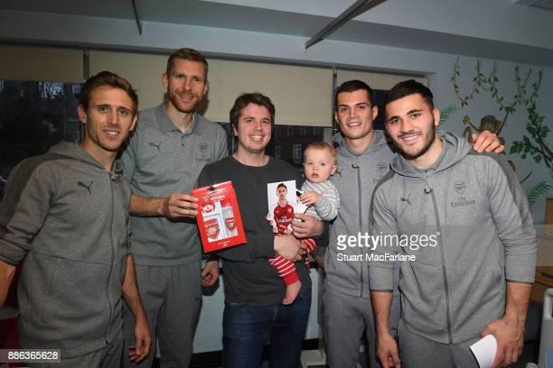 Arsenal's Nacho Monreal Per Mertesacker Granit Xhaka and Sead Kolasinac visits the Whittington Hospital on December 5 2017 in London England