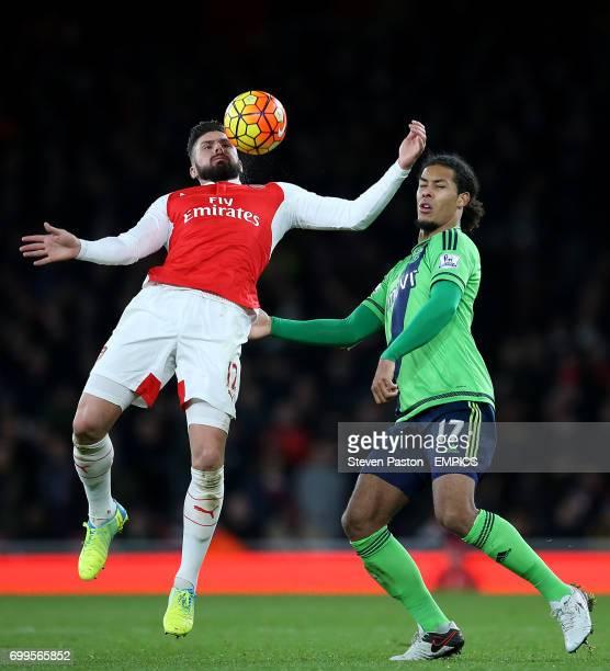Arsenal's Olivier Giroud and Southampton Virgil Van Dijk battle for the ball