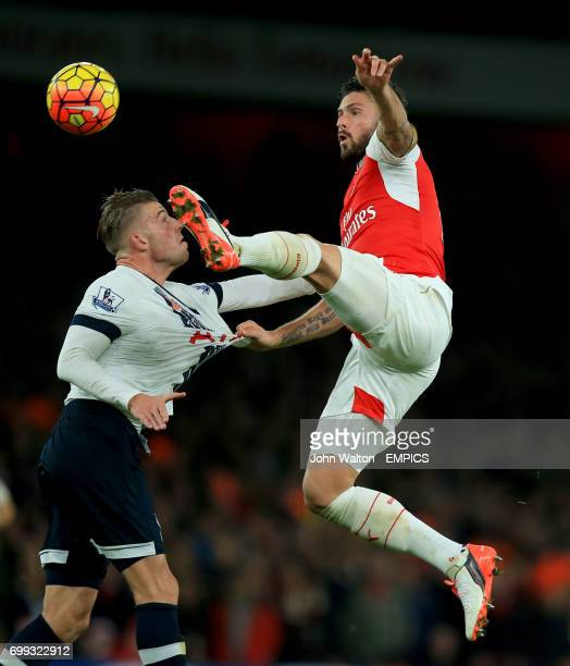 Arsenal's Olivier Giroud and Tottenham Hotspur's Toby Alderweireld battle for the ball