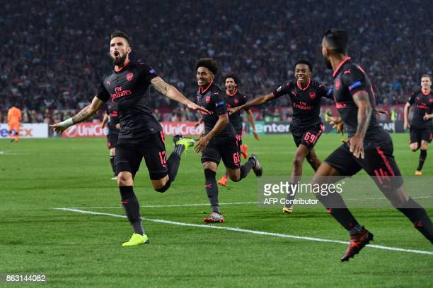 Arsenal's Olivier Giroud celebrates after scoring a goal during the UEFA Europa League football between Belgrade and Arsenal on October 19 2017 in...