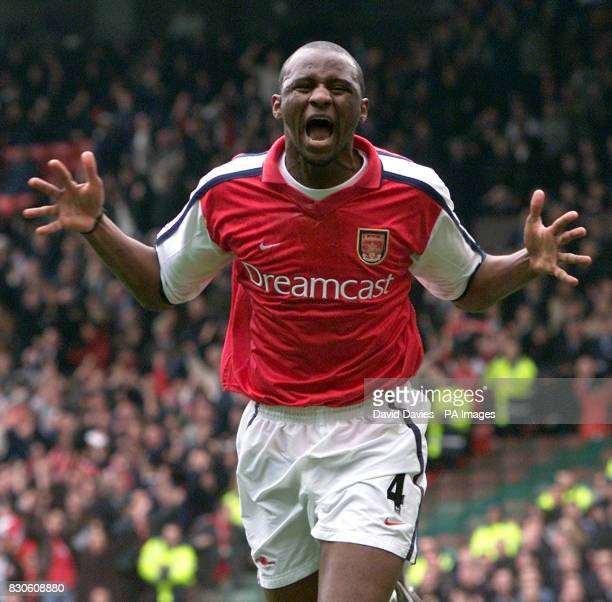 Arsenal's Patrick Vieira celebrates scoring his goal against Tottenham during the AXA FA Cup Semi Final game at Old Trafford Manchester *25/06/01...