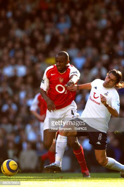 Arsenal's Patrick Vieira holds off Tottenham Hotspur's Pedro Da Silva Mendes