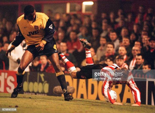 Arsenal's Patrick Vieira trips Sunderland's Michael Gray during the FA Cup third round replay at Roker Park tonight Photo by RUI VIEIRA/PA