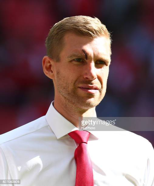 Arsenal's Per Mertesacker with his eye injury during the The FA Community Shield match between Arsenal and Chelsea at Wembley stadium London England...