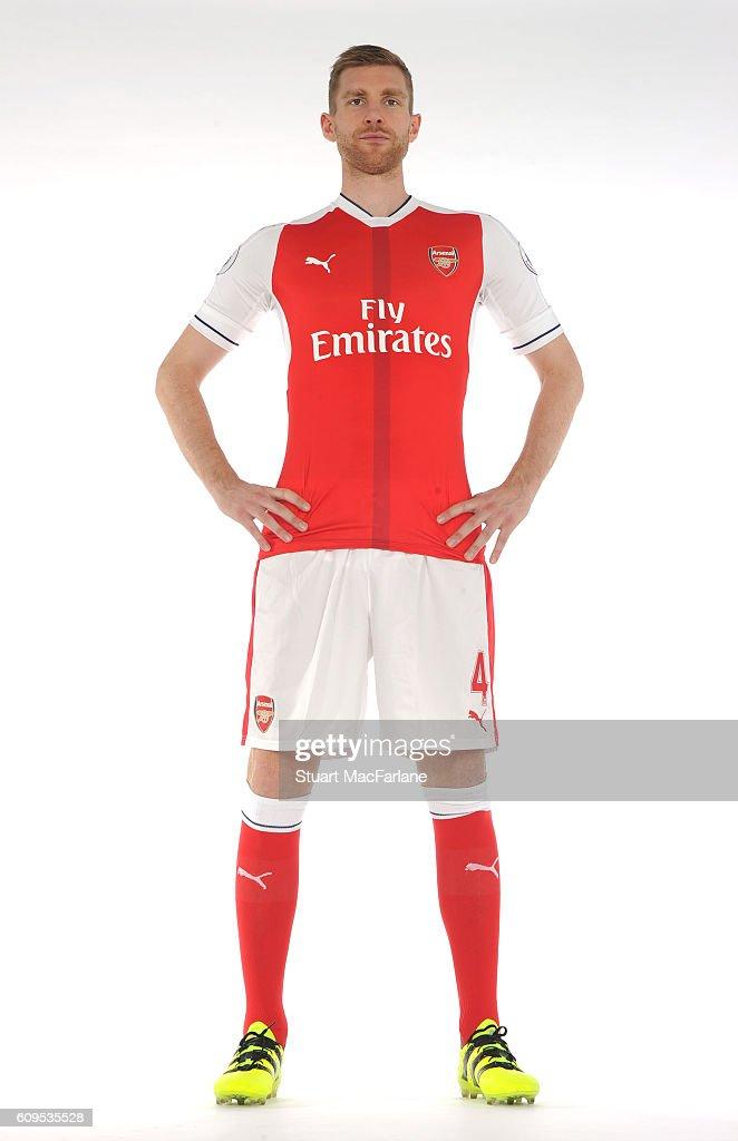 Arsenal's Per Mertescker at London Colney on September 21, 2016 in St Albans, England.
