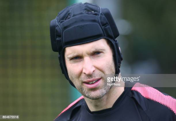 Arsenal's Petr Cech during a Arsenal training session ahead of the UEFA Europa League Group H match against BATE Borisov at Arsenal training centre...