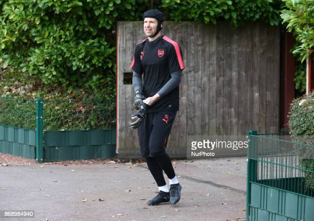 Arsenal's Petr Cech during a Arsenal training session ahead of the UEFA Europa League Group H match against Red Star Belgrade at Arsenal training...