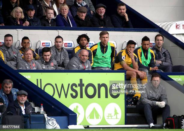 Arsenal's Petr Cech Francis Coquelin Alexis Sanchez Per Mertesacker and Mohamed Elneny on the bench during the Premier League match at The Hawthorns...