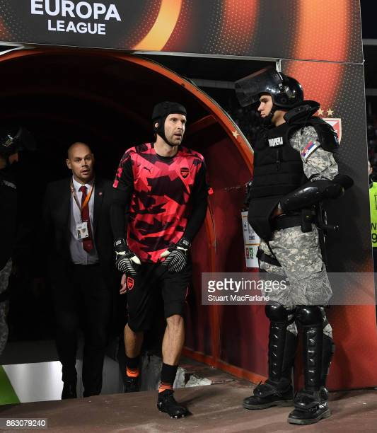 Arsenal's Petr Cech walk out of the players tunnel for the warm up before the UEFA Europa League group H match between Crvena Zvezda and Arsenal FC...