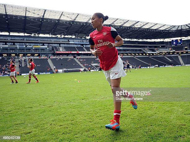 Arsenal's Rachel Yankey during the warm up before the match at Stadium mk on June 1 2014 in Milton Keynes England