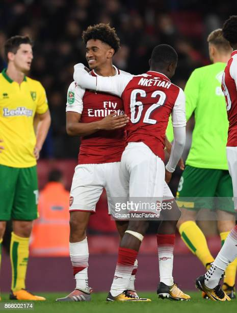 Arsenal's Reiss Nelson and Eddie Nketiah celebrate after the Carabao Cup Fourth Round match between Arsenal and Norwich City at Emirates Stadium on...