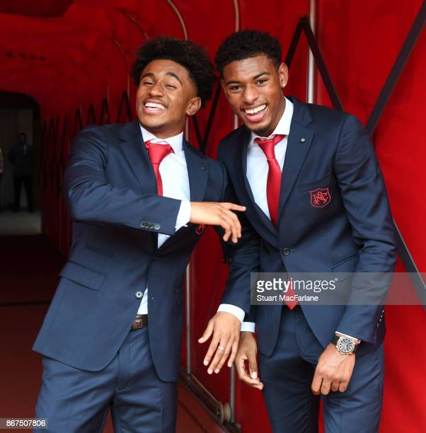 Arsenal's Reiss Nelson and Jeff ReineAdelaide of Arsenal in the tunnel before the Premier League match between Arsenal and Swansea City at Emirates...