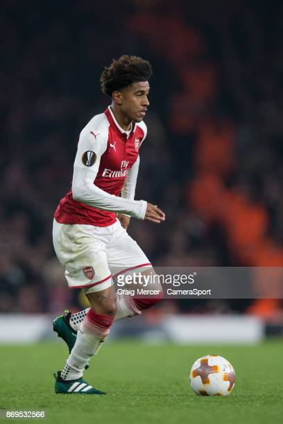 Arsenal's Reiss Nelson in action during the UEFA Europa League group H match between Arsenal FC and Crvena Zvezda at Emirates Stadium on November 2...
