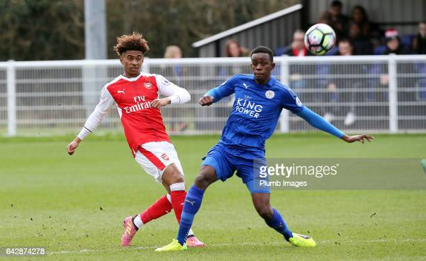 Arsenal's Reiss Nelson under pressure from Leicesters Admiral Muskwe during the Leicester City v Arsenal U23 PL2 match at Holmes Park on February 19...