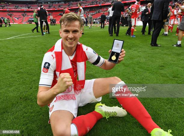 Arsenal's Rob Holding after the Emirates FA Cup Final between Arsenal and Chelsea at Wembley Stadium on May 27 2017 in London England