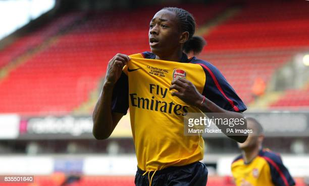 Arsenal's Sanchez Watt celebrates his goal during the FA Youth Cup Final First Leg at the Emirates Stadium London