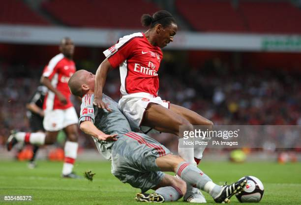 Arsenal's Sanchez Watt is fouled by Liverpool defender Karl Clair to give away penalty during the FA Youth Cup Final First Leg at the Emirates...