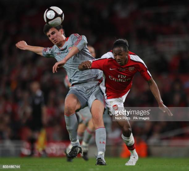 Arsenal's Sanchez Watt tussles for the ball with Liverpool's Daniel Ayala during the FA Youth Cup Final First Leg at the Emirates Stadium London
