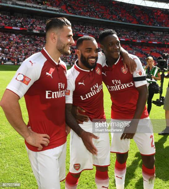 Arsenal's Sead Kolasinac Alex Lacazette and Danny Welbeck after the FA Community Shield match between Chelsea and Arsenal at Wembley Stadium on...