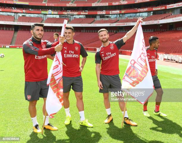 Arsenal's Sead Kolasinac Granit Xhaka and Shkodran Mustafi before the Arsenal 1st team take on the Jnr Gunners after a training session at Emirates...