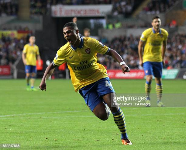 Arsenal's Serge Gnabry celebrates scoring his side's first goal of the game