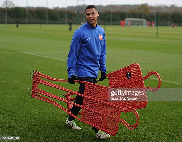 Arsenal's Serge Gnabry during a training session at London Colney on November 25 2013 in St Albans England