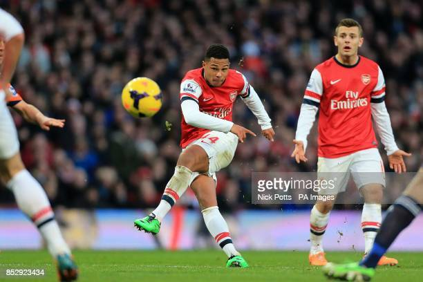 Arsenal's Serge Gnabry has a shot on goal