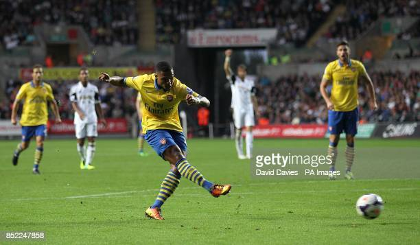 Arsenal's Serge Gnabry scores his side's first goal of the game