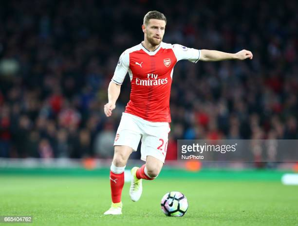 Arsenal's Shkodran Mustafi during the EPL Premier League match between Arsenal and West Ham United at The Emirates London England on 05 April 2017