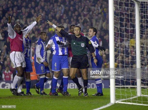 Arsenal's Sol Campbell is disappointed as referee Urs Meier from Switzerland disallows a goal against Deportivo La Coruna during their Group D...