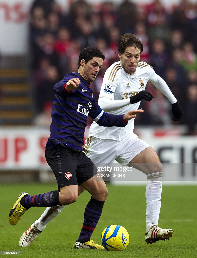 "Arsenal's Spanish midfielder Mikel Arteta (L) vies for the ball against Swansea City's Spanish striker Miguel Michu (R) during the FA Cup third round football match at the Liberty Stadium in Swansea, Wales on January 6, 2013. The game ended with a 2-2 draw. USE. No use with unauthorized audio, video, data, fixture lists, club/league logos or ""live"" services. Online in-match use limited to 45 images, no video emulation. No use in betting, games or single club/league/player publications."