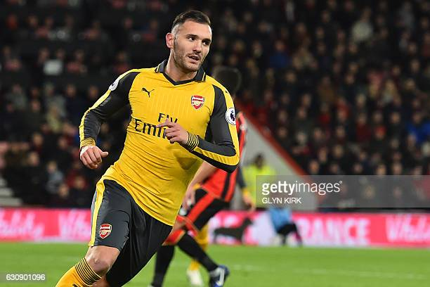 Arsenal's Spanish striker Lucas Perez celebrates after scoring their second goal during the English Premier League football match between Bournemouth...