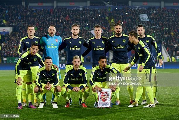Arsenal's Swiss midfielder Granit Xhaka Arsenal's Colombian goalkeeper David Ospina Arsenal's German defender Shkodran Mustafi Arsenal's French...
