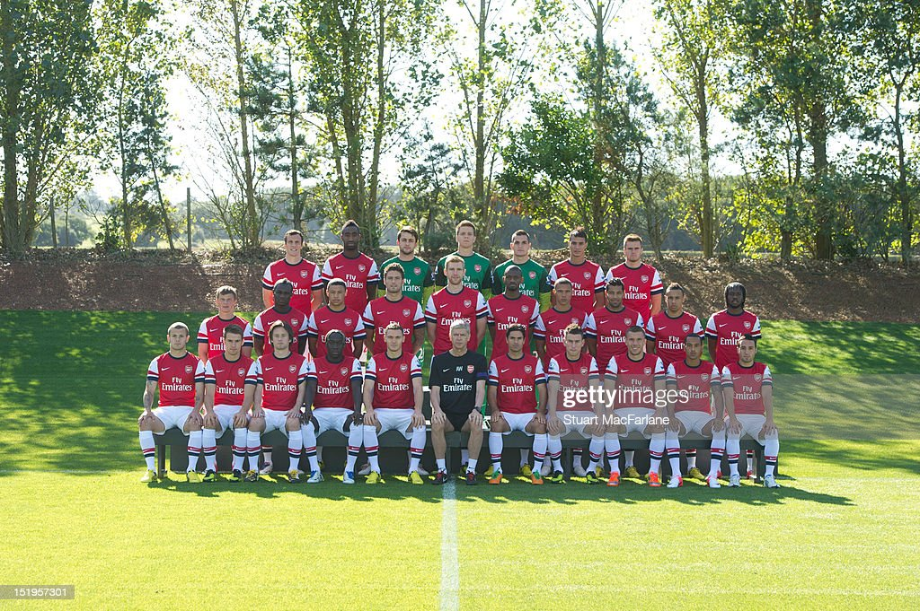 Arsenal's Team Squad pose for their 2012 - 2013 season first team photocall: (Back row) (L-R): Sebastien Squillaci, Johan Djourou, Lukasz Fabianski, Wojciech Szczesny, Vito Mannone, Marouane Chamakh, Carl Jenkinson. (Middle row) (L-R): Andrey Arshavin, Emmanuel Frimpong, Alex Oxlade-Chamberlain, Olivier Giroud, Per Mertesacker, Abou Diaby, Kieran Gibbs, Francis Coquelin, Gervinho. (Front row) (L-R): Jack Wilshere, Aaron Ramsey, Tomas Rosicky, Bacary Sagna, Thomas Vermaelen (captain), <a gi-track='captionPersonalityLinkClicked' href=/galleries/search?phrase=Arsene+Wenger&family=editorial&specificpeople=171184 ng-click='$event.stopPropagation()'>Arsene Wenger</a> (manager) Mikel Arteta, Laurent Koscielny, <a gi-track='captionPersonalityLinkClicked' href=/galleries/search?phrase=Lukas+Podolski&family=editorial&specificpeople=204460 ng-click='$event.stopPropagation()'>Lukas Podolski</a>, Theo Walcott, Santi Cazorla at the Arsenal Training Ground on September 13, 2011 in London, England.
