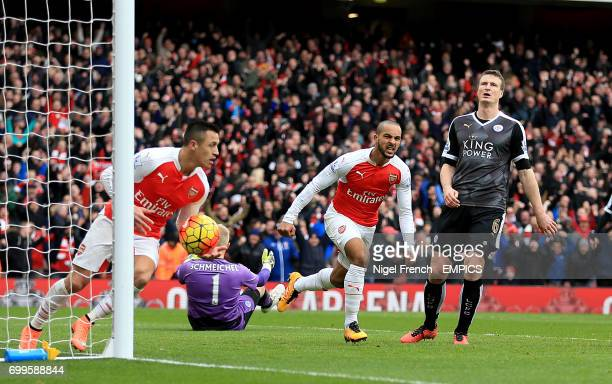 Arsenal's Theo Walcott celebrates scoring his side's first goal of the game