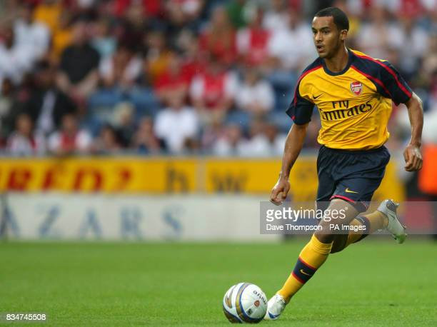 Arsenal's Theo Walcott in action during the preseason friendly match at the Galpharm Stadium Huddersfield