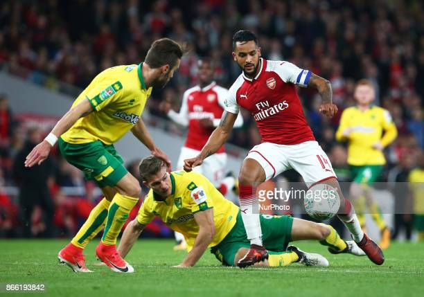 Arsenal's Theo Walcott takes on Ivo Pinto of Norwich City during Carabao Cup 4th Round match between Arsenal and Norwich City at Emirates Stadium...