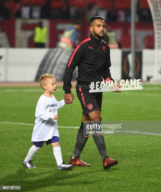 Arsenal's Theo Walcott walks out before the UEFA Europa League group H match between Crvena Zvezda and Arsenal FC at Rajko Mitic Stadium on October...