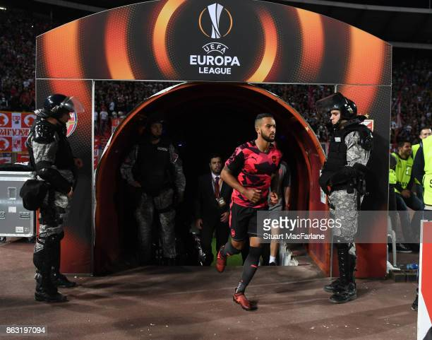 Arsenal's Theo Walcott walks out of the players tunnel before the UEFA Europa League group H match between Crvena Zvezda and Arsenal FC at Rajko...
