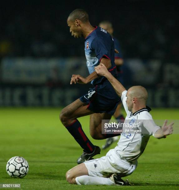 Arsenal's Thierry Henry and Auxerre's Johan Radet during tonight Champions League 1st round match at the Abbe Deschamps Stadium Auxerre THIS PICTURE...