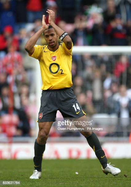 Arsenal's Thierry Henry is substituted for Dennis Bergkamp