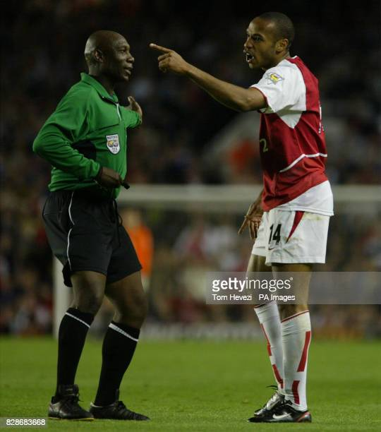 Arsenal's Thierry Henry points an accusing finger at Southampton's Paul Williams during their FA Barclaycard Premiership match at Highbury north...