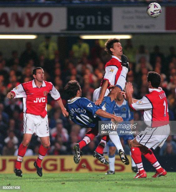 FEATURE Arsenal's Tony Adams rises up past Chelsea's Pierluigi Casiraghi and teammate Martin McKeown to header the ball Final Score 00 Photo by Ben...