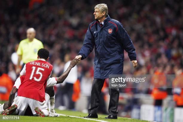 DENILSON / Arsene WENGER Arsenal / Psv eindhoven 8e de finale Champions League