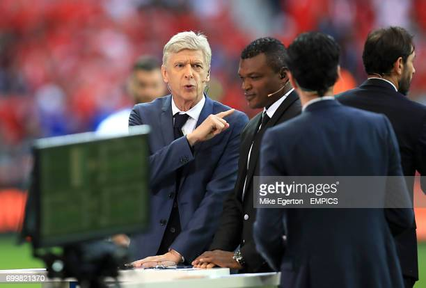Arsene Wenger and Marcel Desailly working as pundits for french television