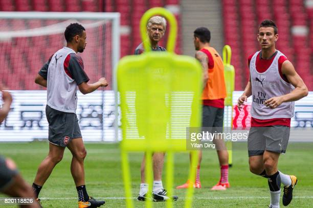 Arsene Wenger looks During a training session at Birds Nest on July 21 2017 in Beijing China