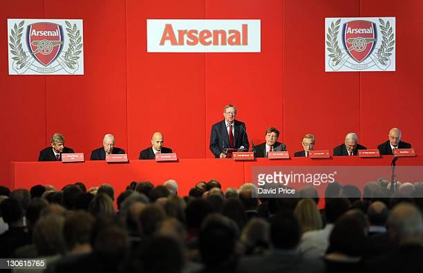 Arsene Wenger Lord Harris Ivan Gazidis Peter HillWood Stan Kroenke Ken Friar Sir Chips Keswick and David Mile during the Arsenal AGM at Emirates...